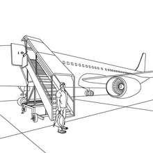 Dibujo para colorear escalera del avion - Dibujos para Colorear y Pintar - Dibujos para colorear MEDIOS DE TRANSPORTE - Dibujos para colorear AVION