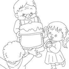 Dibujo para colorear pasteles de mi abuela - Dibujos para Colorear y Pintar - Dibujos para colorear FIESTAS - Dibujos para colorear DIA DE LA ABUELA