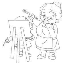 Dibujo para colorear abuela pintora - Dibujos para Colorear y Pintar - Dibujos para colorear FIESTAS - Dibujos para colorear DIA DE LA ABUELA