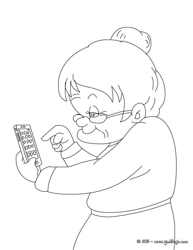 Dibujo para colorear abuela con su smart phone - Dibujos para colorear ...