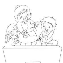 Dibujo para colorear abuela jugando a la consola wii con sur nietos - Dibujos para Colorear y Pintar - Dibujos para colorear FIESTAS - Dibujos para colorear DIA DE LA ABUELA