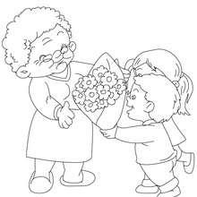 Dibujo para colorear ramo de flores para mi abuela - Dibujos para Colorear y Pintar - Dibujos para colorear FIESTAS - Dibujos para colorear DIA DE LA ABUELA