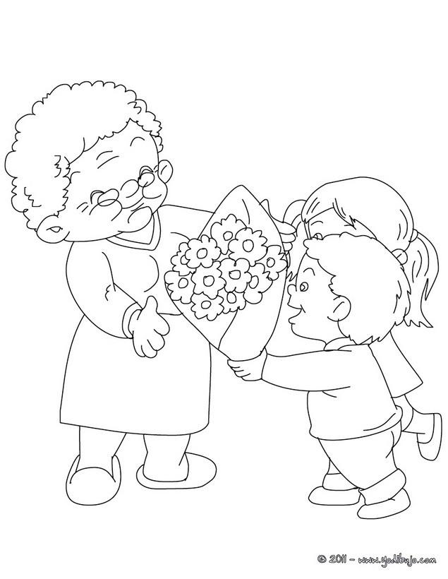 Dibujos para colorear abuela con su nieto - es.hellokids.com