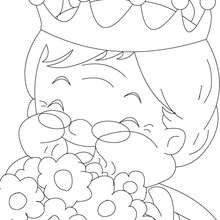 Dibujo para colorear : abuela feliz