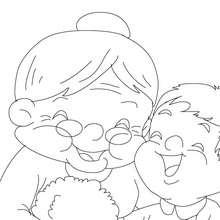 Dibujo para colorear : abuela y sus nietos
