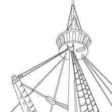 Dibujo para colorear MASTIL del velero - Dibujos para Colorear y Pintar - Dibujos para colorear MEDIOS DE TRANSPORTE - Dibujos para colorear VELEROS