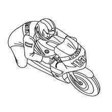 Dibujo para colorear : CONDUCTOR DE MOTO DEPORTIVA