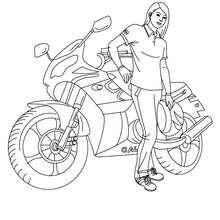 Dibujo para colorear CONDUCTORA CON SU MOTO - Dibujos para Colorear y Pintar - Dibujos para colorear VEHICULOS - Dibujos para colorear MOTOS