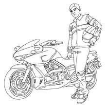 Dibujo para colorear GANADOR DE LA CARRERA DE MOTO - Dibujos para Colorear y Pintar - Dibujos para colorear VEHICULOS - Dibujos para colorear MOTOS