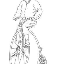 Dibujo de un ciclista en su bicicleta antigua para colorear - Dibujos para Colorear y Pintar - Dibujos para colorear VEHICULOS - Dibujos para colorear BICICLETAS
