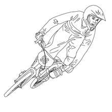 Dibujo para colorear : carrera de BMX