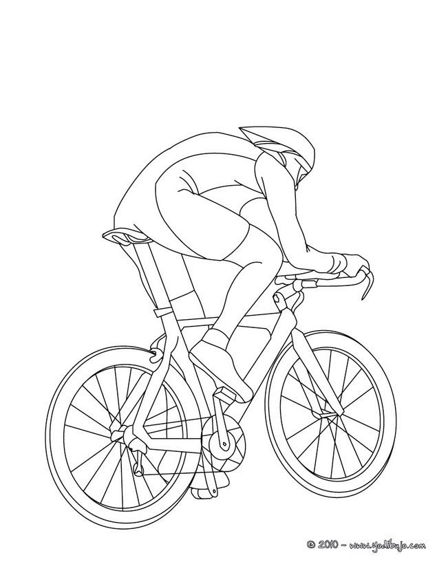 Dibujo para colorear : carrera de bicicletas