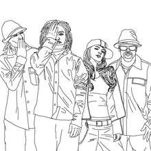 Dibujo para colorear : Fergie, Will I am, Apl De Ap and Taboo de black eyed peas