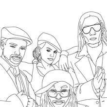 Dibujo para colorear : Retrato de los miembros del grupo black eyed peas