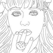 Dibujo para colorear : Retrato de katy Perry