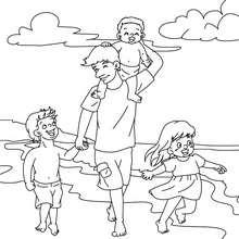 Dibujo del papa con su hijos en la playa para colorear - Dibujos para Colorear y Pintar - Dibujos para colorear FIESTAS - Dibujos para colorear DIA DEL PADRE