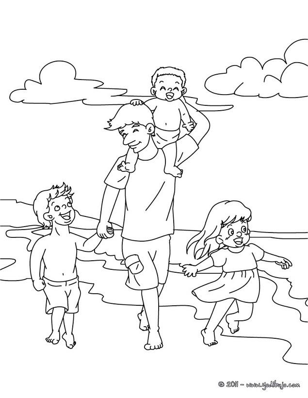 Dibujos para colorear papa con su hijos en la playa - es.hellokids.com