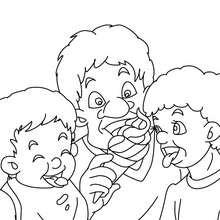 dibujo de papa comiendo un helado con sus hijos para colorear - Dibujos para Colorear y Pintar - Dibujos para colorear FIESTAS - Dibujos para colorear DIA DEL PADRE