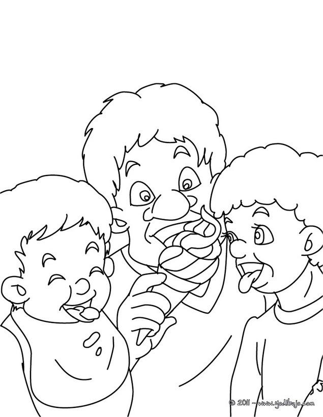 Dibujos para colorear papa comiendo un helado con sus hijos - es ...