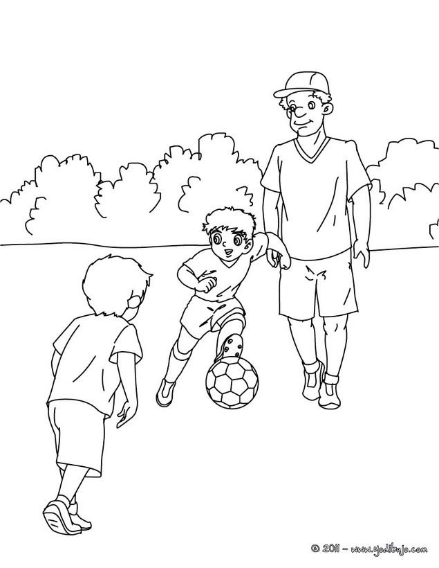 Dibujos para colorear padre jugando futbol con sus hijos - es ...