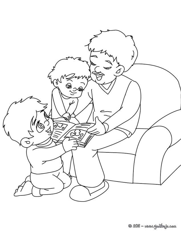 dibujos para colorear de ninos leyendo