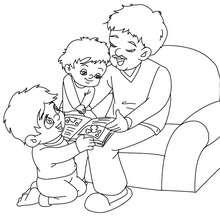 Dibujo para colorear papa leyendo historias a sus hijos - Dibujos para Colorear y Pintar - Dibujos para colorear FIESTAS - Dibujos para colorear DIA DEL PADRE