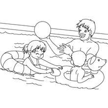Dibujo para colorear : papa en la piscina con sus hijos