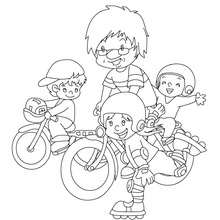 Dibujo para colorear : pader haciendo bicicleta con sus hijos