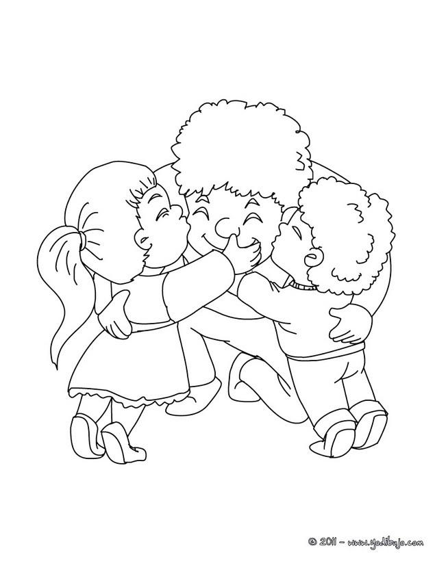 Dibujo para colorear : padre con su hijos