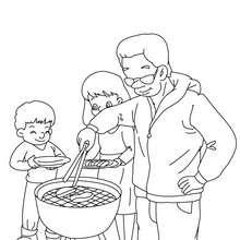 Dibujo para colorear : papa haciendo una barbacoa con sus hijos