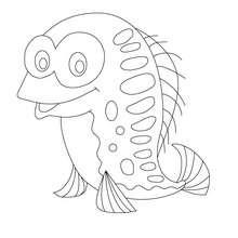 Dibujo pescado de abril sonriendo para colorear y recortar - Dibujos para Colorear y Pintar - Dibujos para colorear FIESTAS - Dibujos de PESCADO DE ABRIL para colorear y recortar