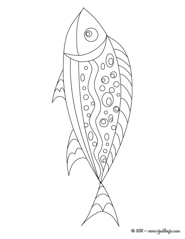 Dibujo para colorear : pescado de abril decorado