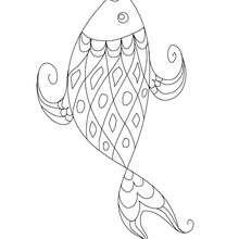 Dibujo para colorear : pescado de abril con boca roja
