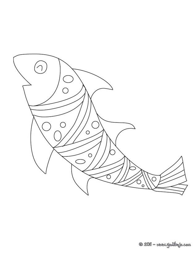 Dibujo para colorear : pescado de abril para recortar