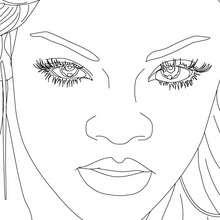 Dibujo para colorear retratode Rihanna - Dibujos para Colorear y Pintar - Dibujos para colorear FAMOSOS - RIHANNA para colorear