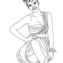 Dibujo de Rihanna sonriendo para colorear - Dibujos para Colorear y Pintar - Dibujos para colorear FAMOSOS - RIHANNA para colorear
