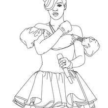 Dibujo de Rihanna cantando para colorear - Dibujos para Colorear y Pintar - Dibujos para colorear FAMOSOS - RIHANNA para colorear