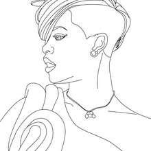 Dibujo de Rihanna con un hermoso peinado para colorear - Dibujos para Colorear y Pintar - Dibujos para colorear FAMOSOS - RIHANNA para colorear
