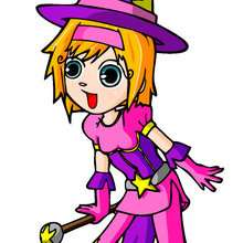 Ilustración : dibujos de ana de bruja de halloween