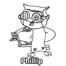 Dibujo de PHILLIP el búho del Club Oca para colorear - Dibujos para Colorear y Pintar - Dibujos para colorear PERSONAJES - Dibujos para colorear y pintar PERSONAJES - CLUB OCA para colorear