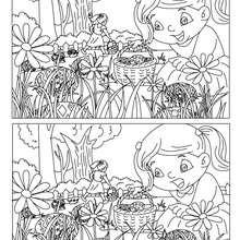 Niños en le jardín busca las 15 diferencias