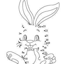 Hoja para imprimir : Juego unir puntos conejo de chocolate