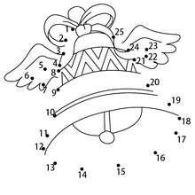 Hoja para imprimir : Juego unir puntos campana con alas para semana santa
