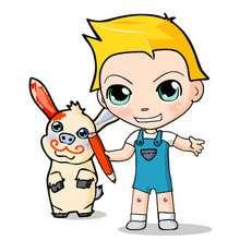 dibujos de Teo y su mascota - Dibujar Dibujos - Dibujos infantiles para IMPRIMIR - Dibujos de PERSONAJES para imprimir - Dibujos de TEO para imprimir