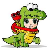 Ilustración : dibujos de Teo disfrazado de cocodrilo