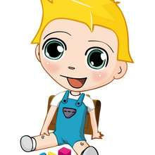 dibujos de Teo a la escuela - Dibujar Dibujos - Dibujos infantiles para IMPRIMIR - Dibujos de PERSONAJES para imprimir - Dibujos de TEO para imprimir