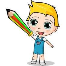 Ilustración : dibujos de Teo con su lapiz espada