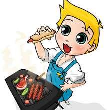 dibujos de Teo comiendo su hot dog
