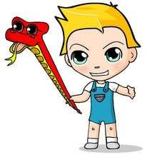 dibujos de Teo con su serpiente - Dibujar Dibujos - Dibujos infantiles para IMPRIMIR - Dibujos de PERSONAJES para imprimir - Dibujos de TEO para imprimir