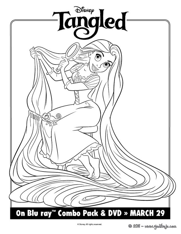 Dibujo para colorear : Rapunzel y Pascal
